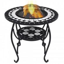 Masa cu vatra de foc, mozaic, negru si alb, 68 cm, ceramica