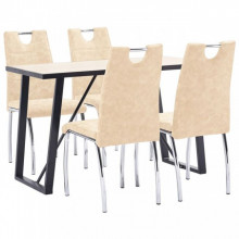 Set mobilier bucatarie, 5 piese, crem, piele ecologica