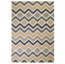 Covor modern cu design zigzag, 140x200 cm, maro/negru/albastru