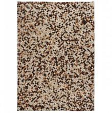 Covor piele naturala, mozaic, 120x170 cm, patrat, maro/alb