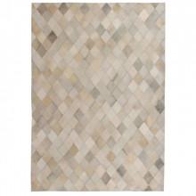 Covor piele naturala, mozaic, 120x170 cm Romburi Gri