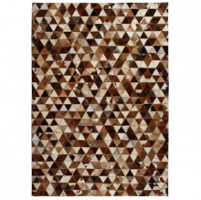 Covor piele naturala, mozaic, 160x230 cm Triunghiuri Maro/alb