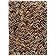 Covor piele naturala, mozaic 80x150 cm zig-zag Maro/alb