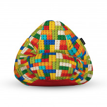 Fotoliu Units Puf (Bean Bags) tip para, impermeabil, cu maner, 100x80x70 cm, lego tetris verde