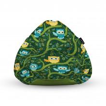 Fotoliu Units Puf (Bean Bags) tip para, impermeabil, cu maner, 100x80x70 cm, bufnite verde