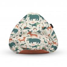 Fotoliu Units Puf (Bean Bags) tip para, impermeabil, cu maner, 100x80x70 cm, ursi cerbi si alti prieteni