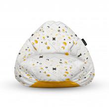 Fotoliu Units Puf (Bean Bags) tip para, impermeabil, cu maner, Memphis alb cu galben