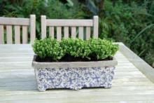 Jardiniera ceramica cu model floral albastru Fleurs Bleues