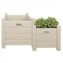 Set 2 jardiniere de lemn alb pentru exterior