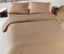 Cuvertura de pat maro pique din bumbac 100% 220*240cm