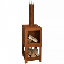 Esschert Design Semineu de exterior cu spatiu depozitare lemne ruginiu