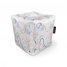 Fotoliu Units Puf (Bean Bags) tip cub, impermeabil, alb cu linii albastre si crem