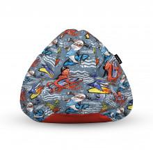 Fotoliu Units Puf (Bean Bags) tip para, impermeabil, cu maner, 100x80x70 cm, surfing sharks