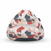 Fotoliu Units Puf (Bean Bags) tip para, impermeabil, cu maner, bej cu model rosu si gri