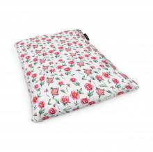 Fotoliu Units Puf (Bean Bags) tip perna, impermeabil, alb cu flori rosii