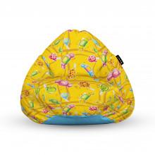 Fotoliu Units Puf (Bean Bags) tip para, impermeabil, cu maner, 100x80x70 cm, candies fundal galben