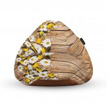 Fotoliu Units Puf (Bean Bags) tip para, impermeabil, cu maner, lemn maro cu flori albe si galbene