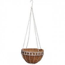 Ghiveci metalic suspendat si cos de nuca de cocos
