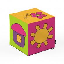 Taburet Units, cub, Flori, 30 x 30 x 30 cm