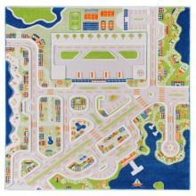 Covor copii 3D interactiv Orasul la mare cu aeroport 200x200cm