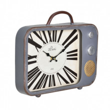 [en.casa]® Ceas design de perete - Model 19 Televizor retro, metal/sticla/MDF, 33 x 5 x 27 cm, multicolor