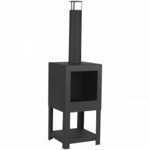 Esschert Design Semineu de exterior cu spatiu depozitare lemne, negru