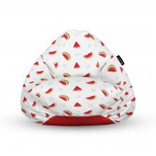 Fotoliu Units Puf (Bean Bags) tip para, impermeabil, cu maner, alb cu felii de pepene