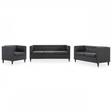 Set canapele Chesterfield 3 piese gri inchis tapiterie tesatura