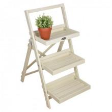 Suport scara pentru ghivece din lemn alb pentru exterior