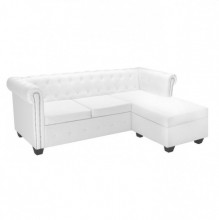 Canapea Chesterfield in forma de L Piele artificiala Alb