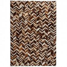 Covor piele naturala, mozaic, 160x230 cm zig-zag Maro/alb