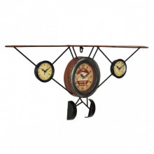[en.casa]® Ceas design de perete - Model 20 Avion antic, metal,sticla, plastic, MDF, multicolor