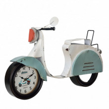 [en.casa]® Ceas design de perete - Model 23 Motor, metal/sticla/MDF, 78,5 x 14,5 x 51 cm, multicolor