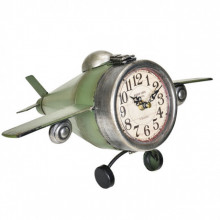 [en.casa]® Ceas design de perete - Model 5 Avion, metal/plastic, 36 x 17 x 25 cm, multicolor