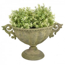 Amfora metalica verde antic pentru flori