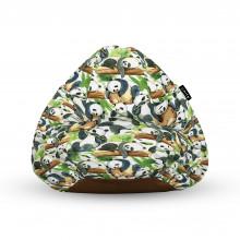 Fotoliu Units Puf (Bean Bags) tip para, impermeabil, cu maner, 100x80x70 cm, panda