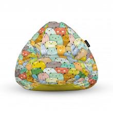 Fotoliu Units Puf (Bean Bags) tip para, impermeabil, cu maner, 100x80x70 cm, invazia pisicilor ocru