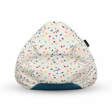 Fotoliu Units Puf (Bean Bags) tip para, impermeabil, cu maner, bej cu triunghiuri multicolore