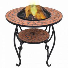 Masa cu vatra de foc, mozaic, caramiziu, 68 cm, ceramica