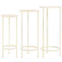 Set cu suport plante, 3 piese, stil vintage, metalic, alb