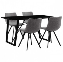 Set mobilier bucatarie, 5 piese, gri, piele ecologica