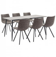 Set mobilier bucatarie, 7 piese, maro, piele ecologica