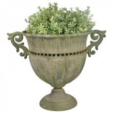 Amfora metalica dantelata verde antic pentru flori