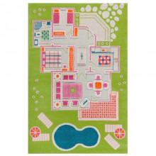 Covor 3D copii interactiv Casa papusii verde 134x200cm