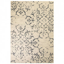 Covor modern, design floral, 80 x 150 cm, bej/albastru
