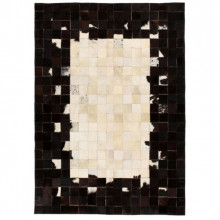 Covor piele naturala, mozaic, 120x170 cm Patrate Negru/alb