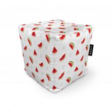 Fotoliu Units Puf (Bean Bags) tip cub, impermeabil, alb cu felii de pepene