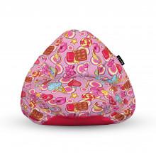 Fotoliu Units Puf (Bean Bags) tip para, impermeabil, cu maner, 100x80x70 cm, candies fundal roz