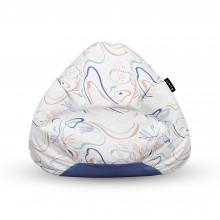 Fotoliu Units Puf (Bean Bags) tip para, impermeabil, cu maner, alb cu linii albastre si crem