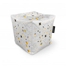 Fotoliu Units Puf (Bean Bags) tip cub, impermeabil, Memphis alb cu galben